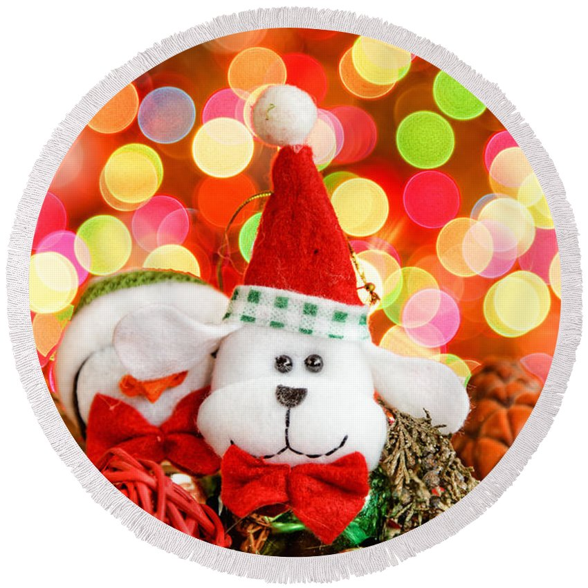 Background Round Beach Towel featuring the photograph Christmas Dog by Peter Lakomy
