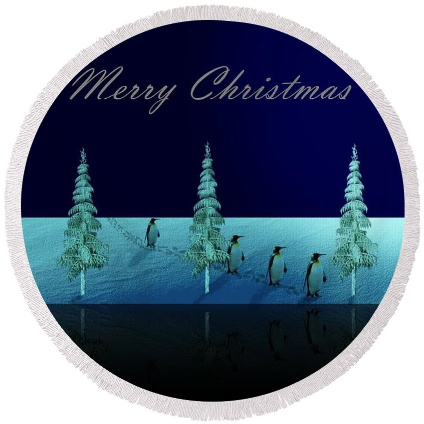 Penguin Round Beach Towel featuring the digital art Christmas Eve Walk Of The Penguins by David Dehner