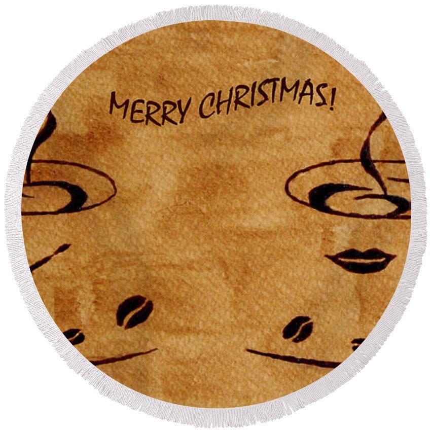 Christmas Greeting Card Round Beach Towel featuring the painting Christmas Greeting by Georgeta Blanaru
