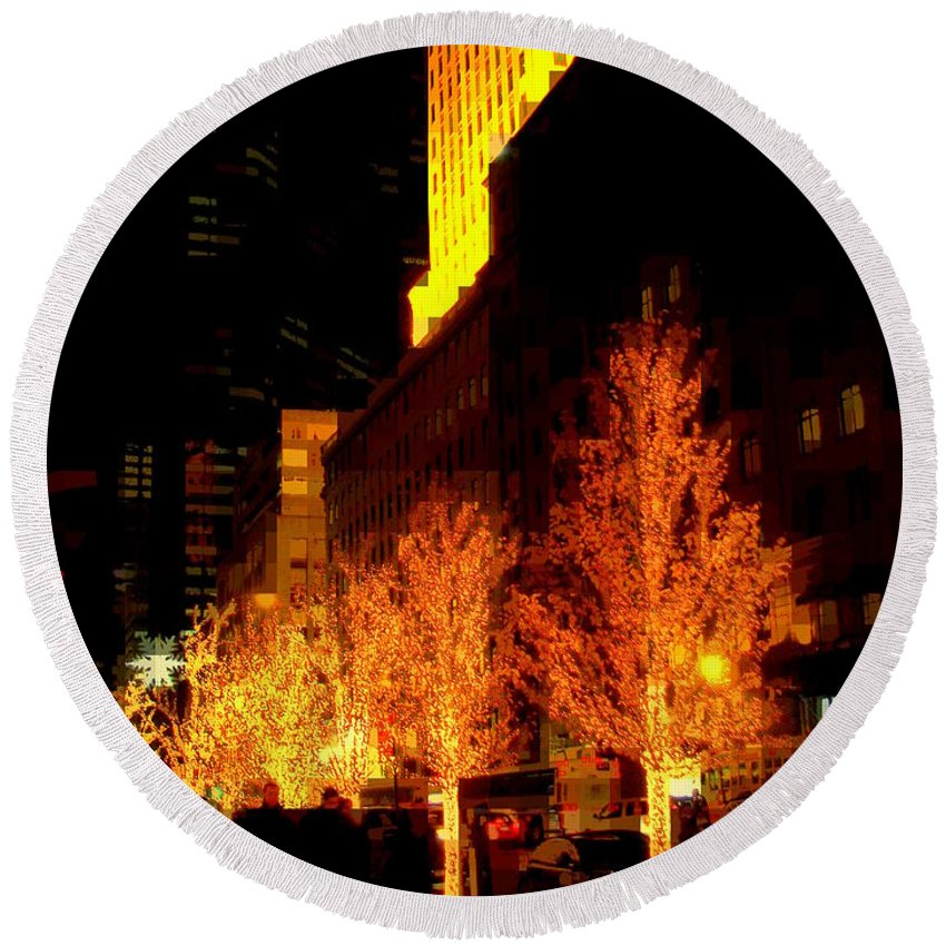 Abstract Round Beach Towel featuring the photograph Christmas In New York - Trees And Star by Miriam Danar