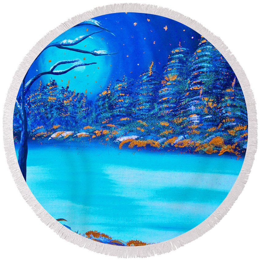Merry Christmas Round Beach Towel featuring the painting Christmas Night by Alex Art and Photo