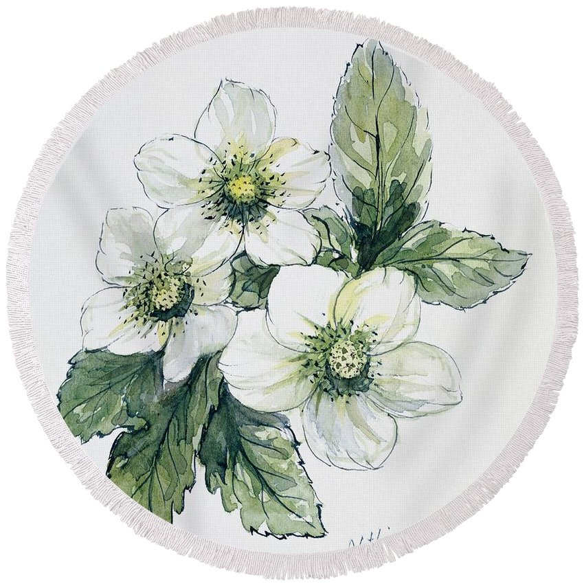 Flower Round Beach Towel featuring the painting Christmas Rose by Nell Hill