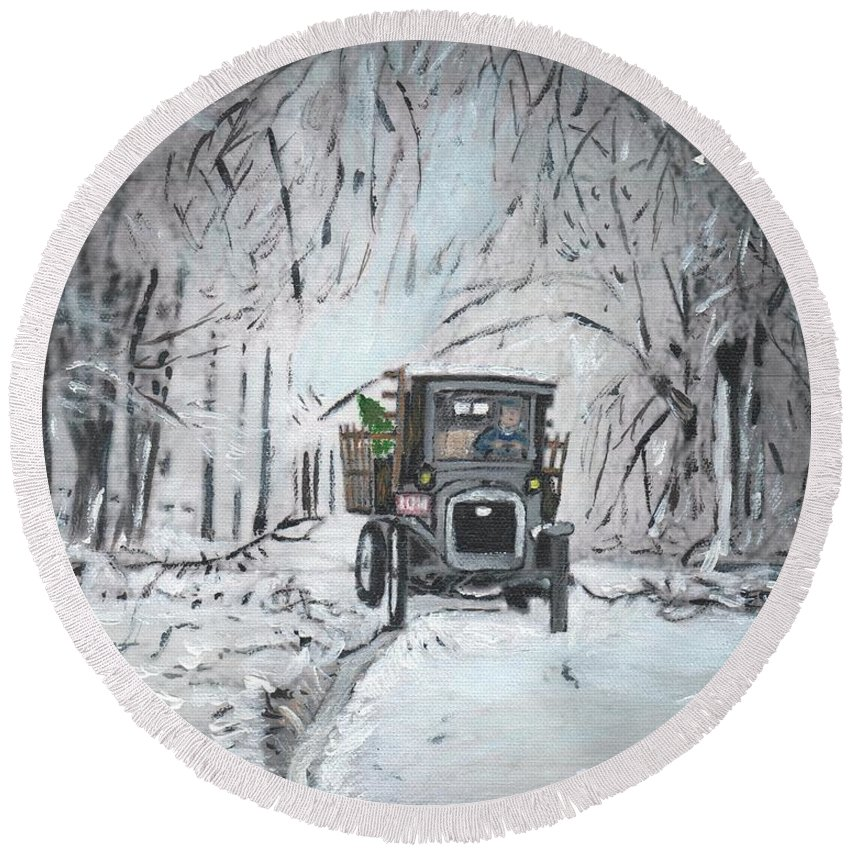 1920s Round Beach Towel featuring the painting Christmas Tree by Cliff Wilson