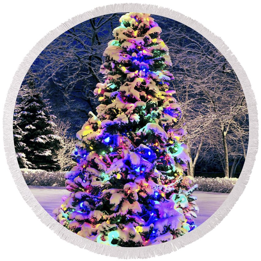 Christmas Round Beach Towel featuring the photograph Christmas Tree In Snow by Elena Elisseeva