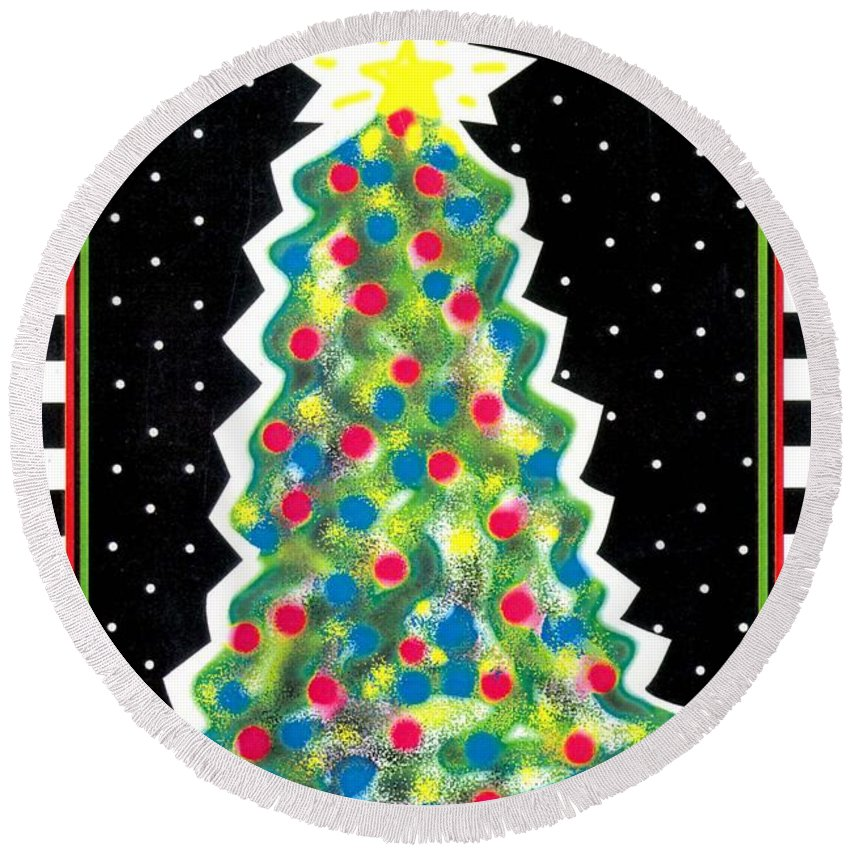 Christmas Tree Round Beach Towel featuring the painting Christmas Tree Polkadots by Genevieve Esson