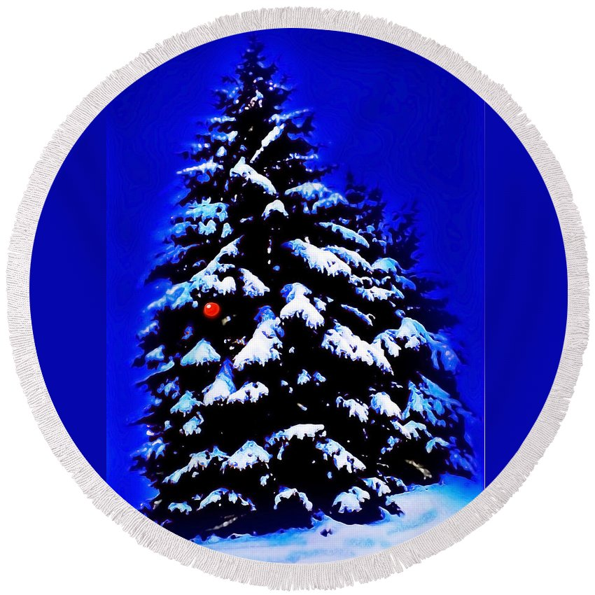 Christmas Round Beach Towel featuring the painting Christmas Tree With Red Ball by CHAZ Daugherty