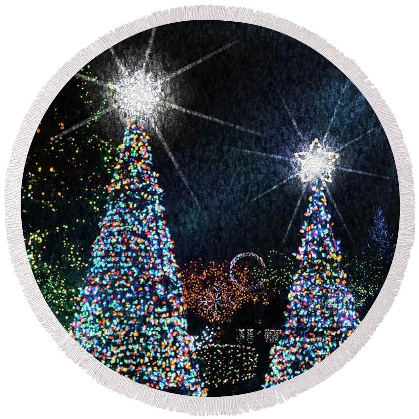 Greeting Cards Round Beach Towel featuring the photograph Christmas Trees by Lilliana Mendez