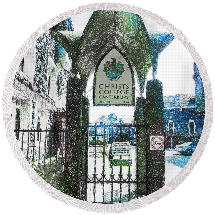 Christ's Round Beach Towel featuring the photograph Christ's College Canterbury by Steve Taylor