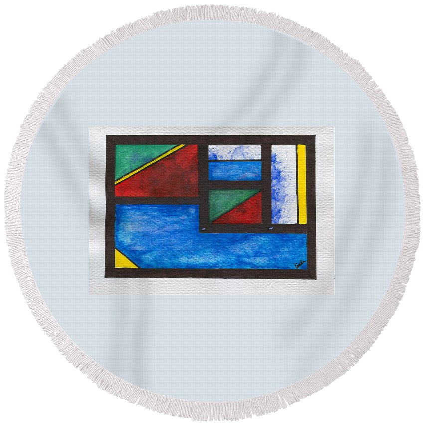 Abstract Round Beach Towel featuring the painting Chromatic Vision 2 by Linda Wimberly