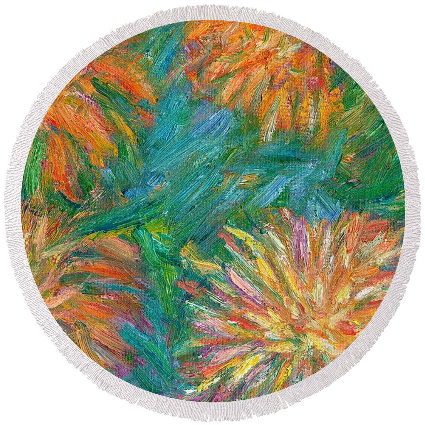 Floral Round Beach Towel featuring the painting Chrysanthemum Shift by Kendall Kessler