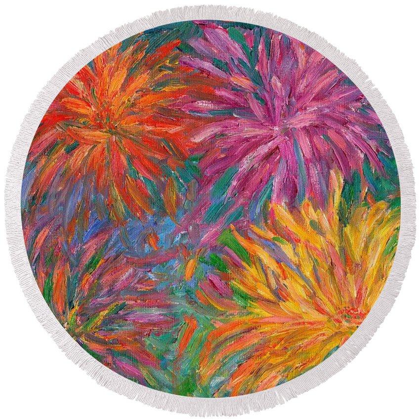 Chrysanthemums Round Beach Towel featuring the painting Chrysanthemums Like Fireworks by Kendall Kessler