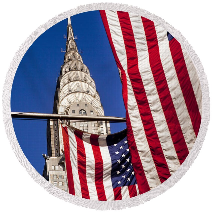 Flag Round Beach Towel featuring the photograph Chrysler Flags by Brian Jannsen
