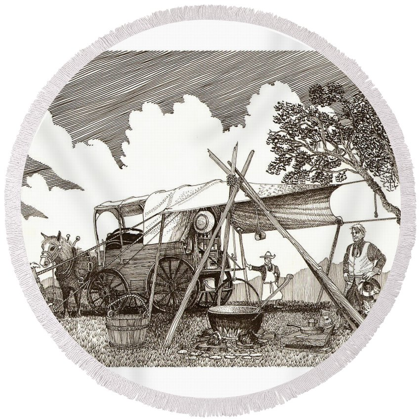 Pen & Ink By Jack Pumphrey Of Cattle Drive Chuckwagon Round Beach Towel featuring the drawing Chuckwagon Cattle Drive Breakfast by Jack Pumphrey