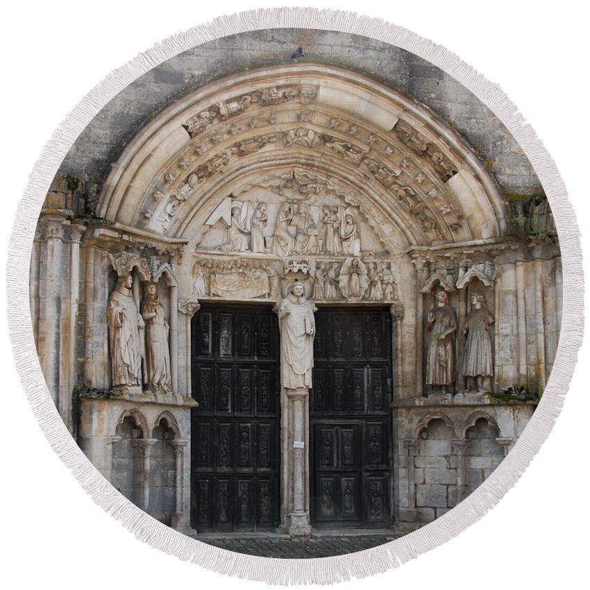 Church Round Beach Towel featuring the photograph Church Entrance - St Thibault by Christiane Schulze Art And Photography