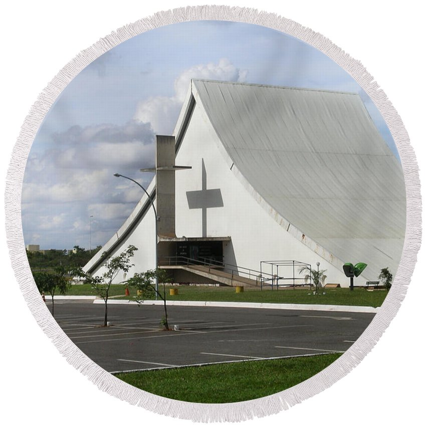 Brazil Round Beach Towel featuring the digital art Church In Brazilia by Carol Ailles