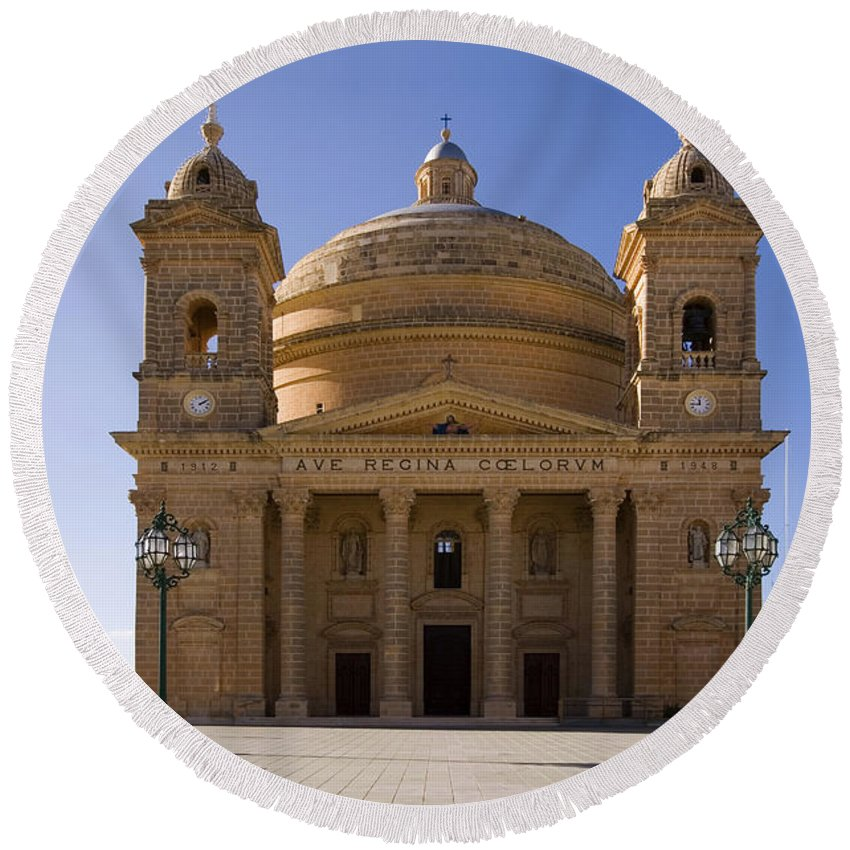 Catholicism Round Beach Towel featuring the photograph Church In Mgrr, Malta by Tim Holt