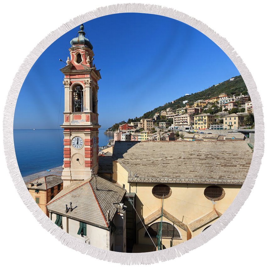 Ancient Round Beach Towel featuring the photograph church in Sori by Antonio Scarpi