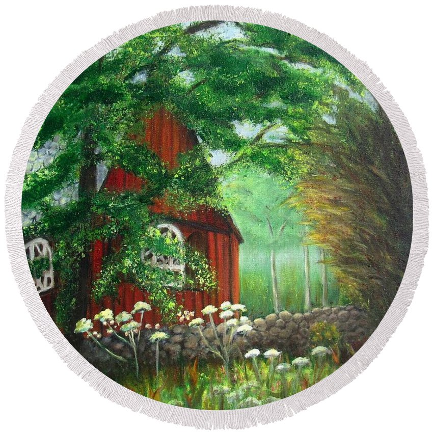 Church Round Beach Towel featuring the painting Church In The Glen by Laurie Morgan