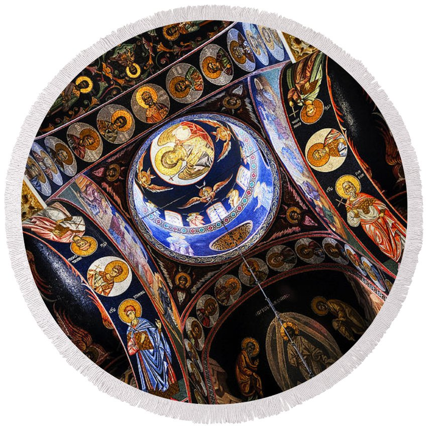 Mosaic Round Beach Towel featuring the photograph Church Interior by Elena Elisseeva