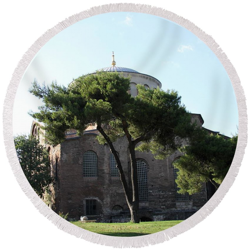 Church Round Beach Towel featuring the photograph Church Of Hagia Eirene I - First Courtyard Topkapi Palace by Christiane Schulze Art And Photography