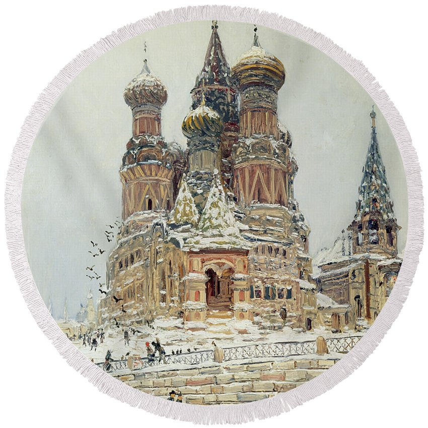 Nikolay Dubovskoy Round Beach Towel featuring the painting Church Of St. Basil In Moscow by Nikolay Dubovskoy