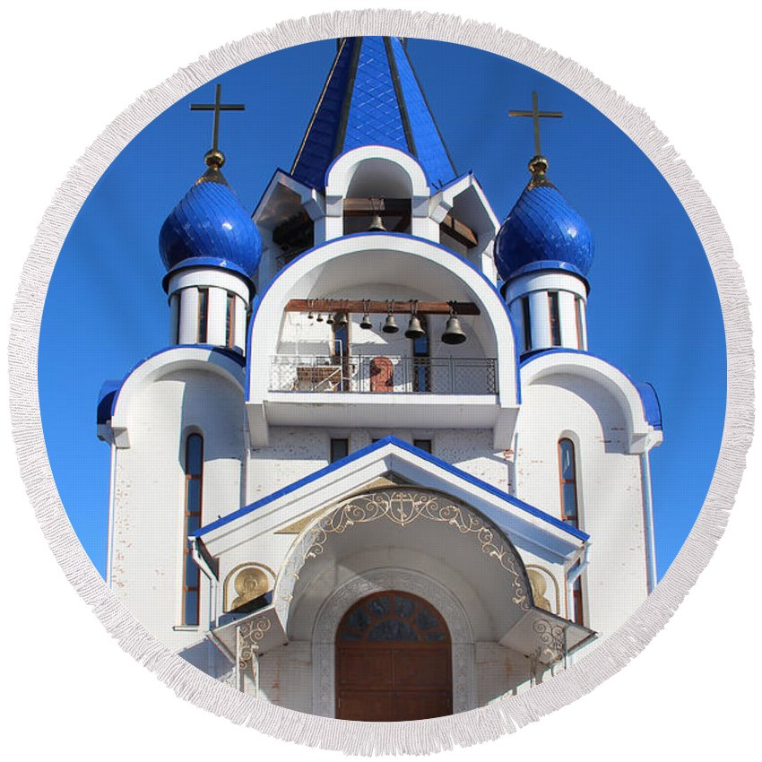 Church Round Beach Towel featuring the photograph Church Of The Nativity Of The Blessed Virgin by Sergey Lukashin