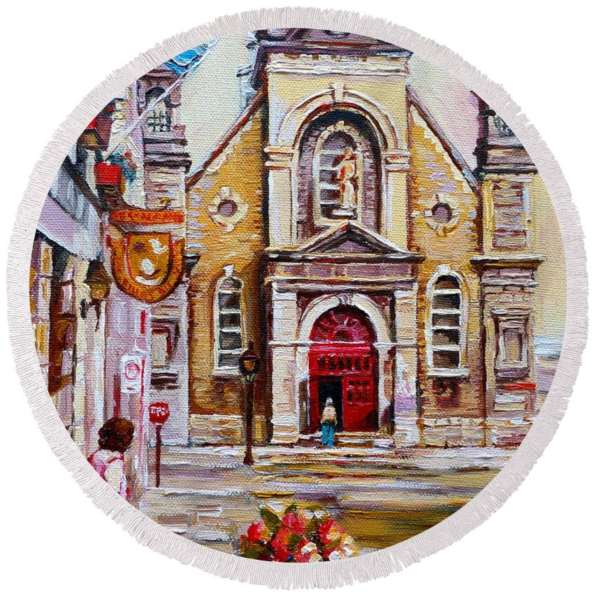 Montreal Churches Round Beach Towel featuring the painting Church On Sunday by Carole Spandau