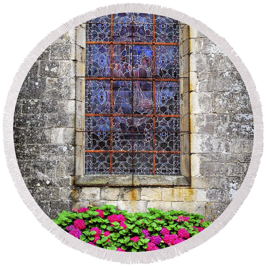 Old Round Beach Towel featuring the photograph Church Window In Brittany by Elena Elisseeva