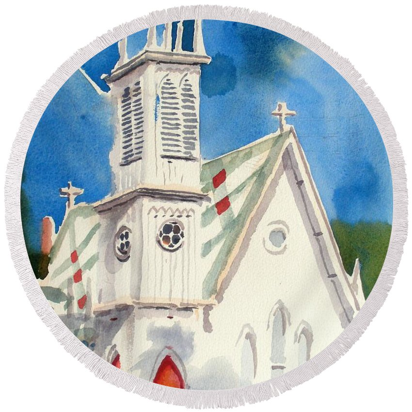 Church Round Beach Towel featuring the painting Church With Jet Contrail by Kip DeVore