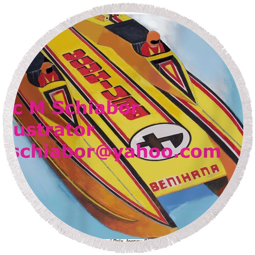 Power Boat Round Beach Towel featuring the painting Cigarett Power Boat Illustration by Eric Schiabor