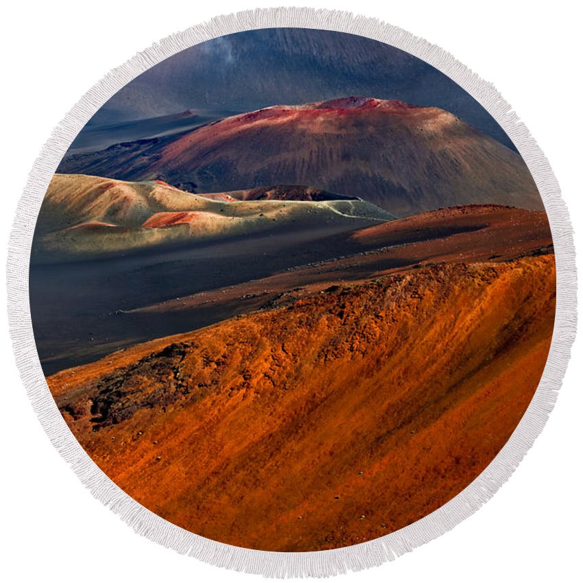 Maui Round Beach Towel featuring the photograph Cinder Cones In Haleakala by Nature Photographer
