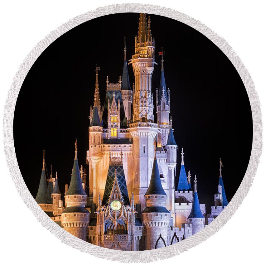 3scape Round Beach Towel featuring the photograph Cinderella's Castle In Magic Kingdom by Adam Romanowicz