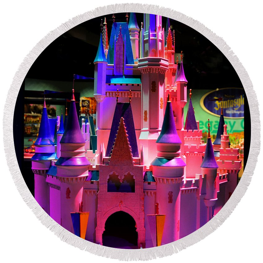 Cinderallas Castle Round Beach Towel featuring the photograph Cinderellas Castle Number One by David Lee Thompson