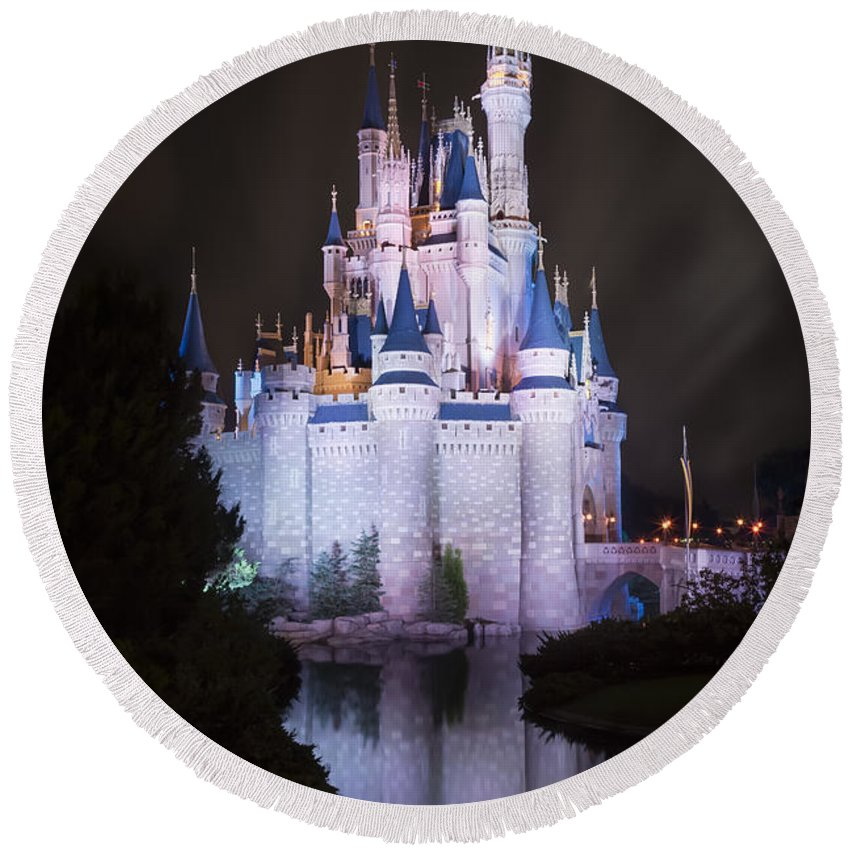 3scape Round Beach Towel featuring the photograph Cinderella's Castle Reflection by Adam Romanowicz