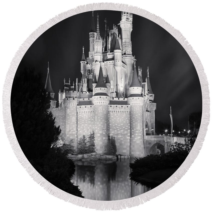 3scape Round Beach Towel featuring the photograph Cinderella's Castle Reflection Black And White by Adam Romanowicz