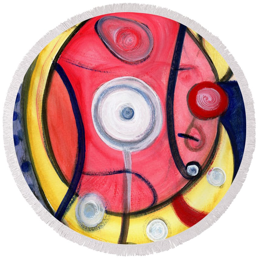 Abstract Art Round Beach Towel featuring the painting Circle For Lovers by Stephen Lucas