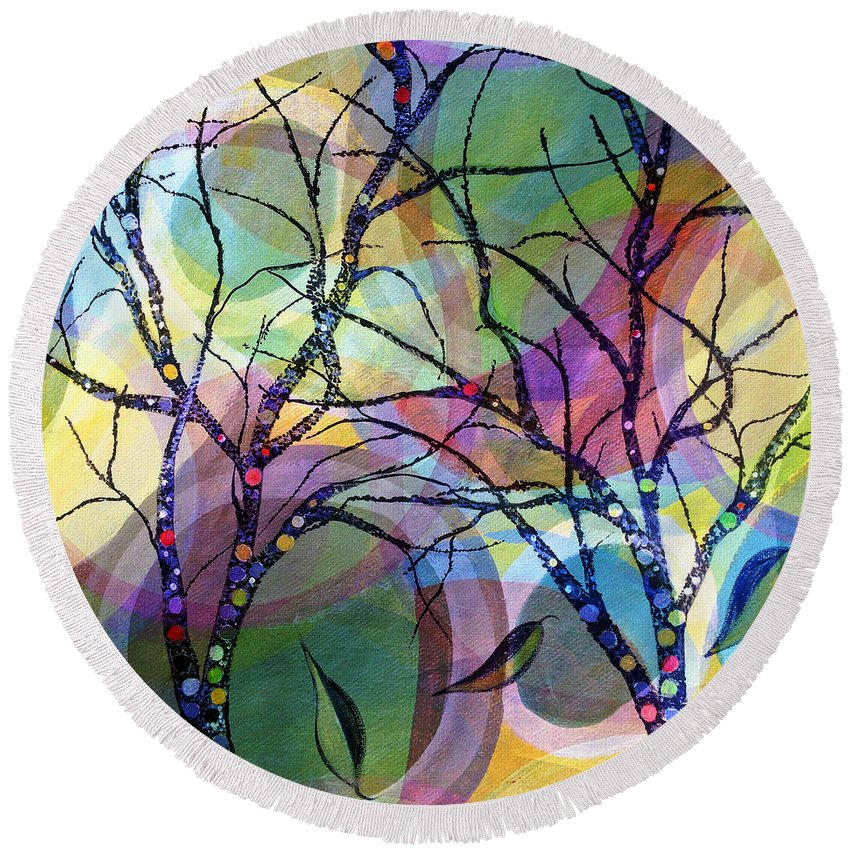 Abstract Round Beach Towel featuring the painting Circle Trees by Ruth Palmer
