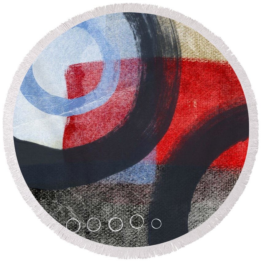 Circles Round Beach Towel featuring the painting Circles 1 by Linda Woods