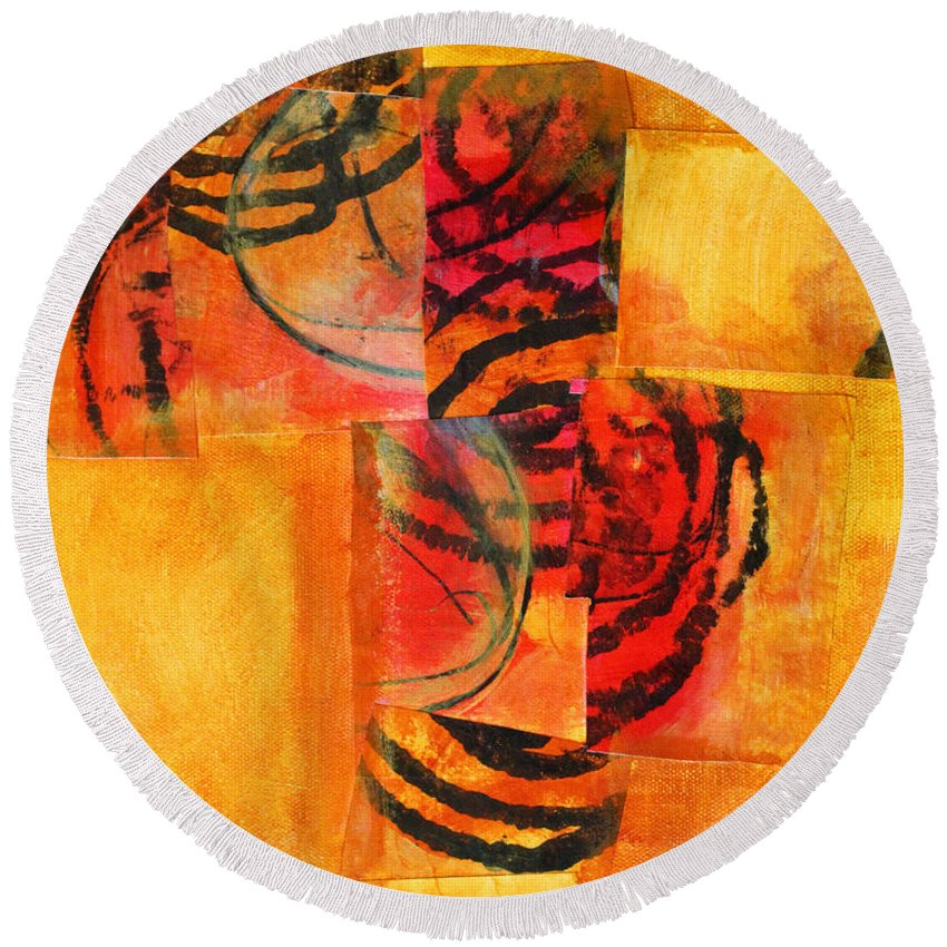 Abstract Round Beach Towel featuring the painting Circles Squared by Nancy Merkle
