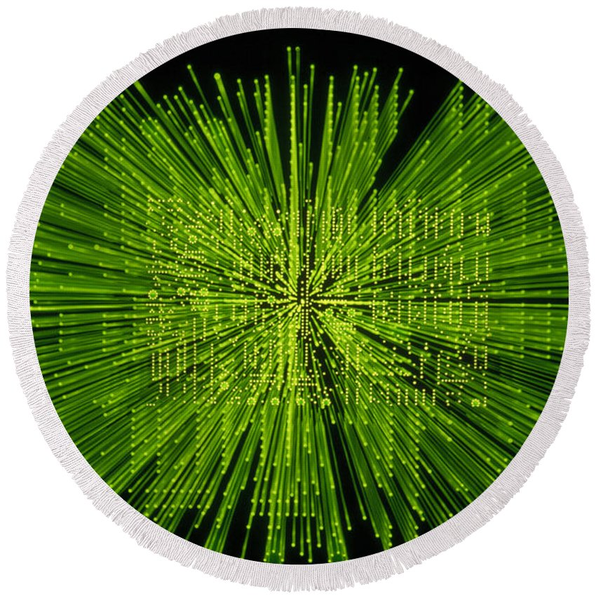Green Round Beach Towel featuring the photograph Circuit Zoom by Jerry McElroy