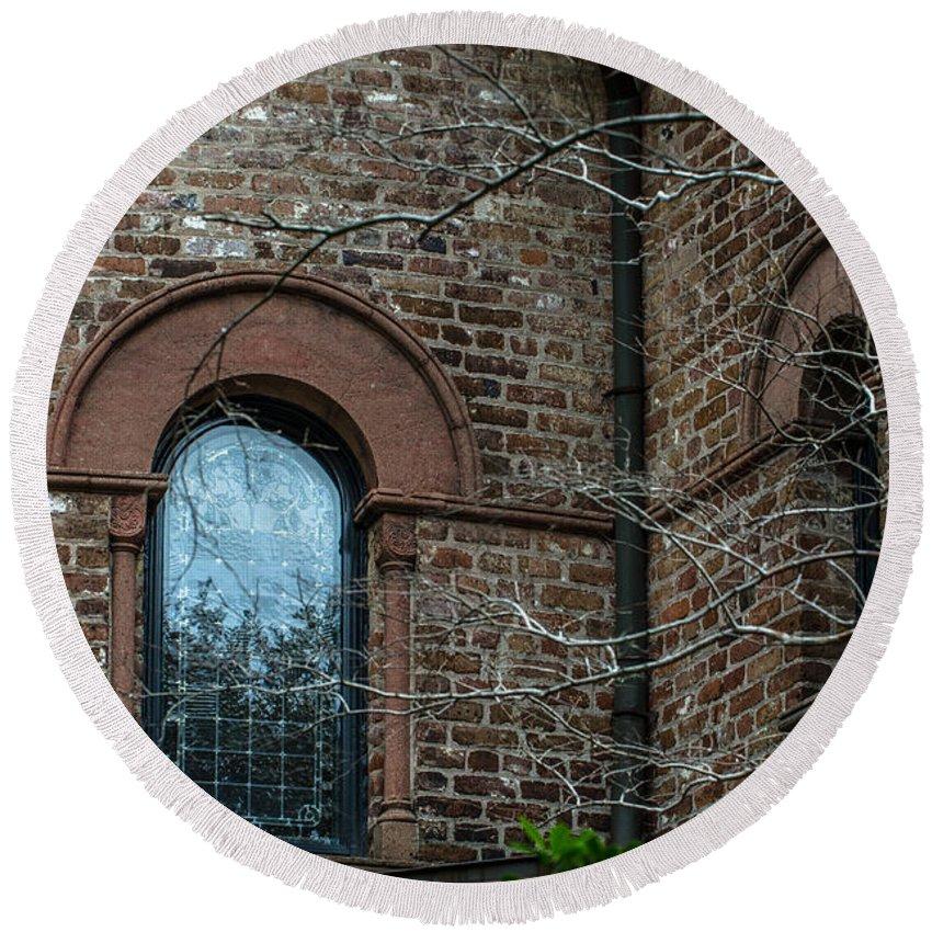 Circular Church Round Beach Towel featuring the photograph Circular Church Window by Dale Powell