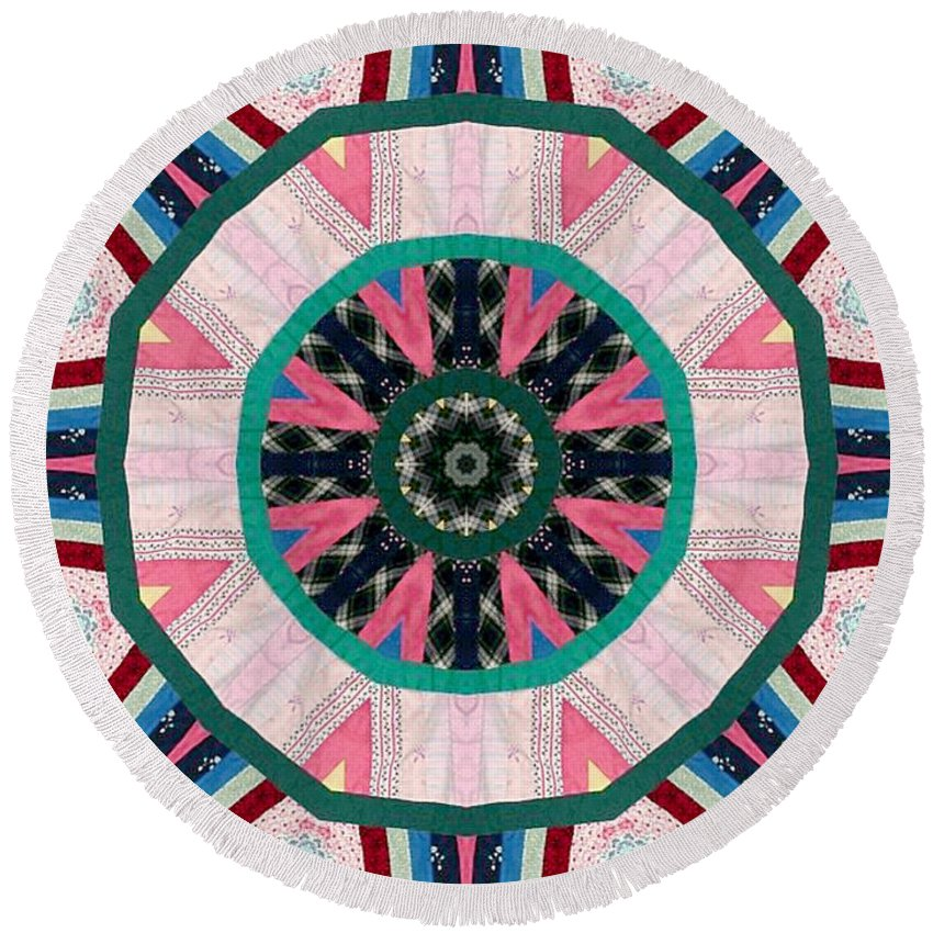 Patchwork Round Beach Towel featuring the photograph Circular Patchwork Art by Barbara Griffin
