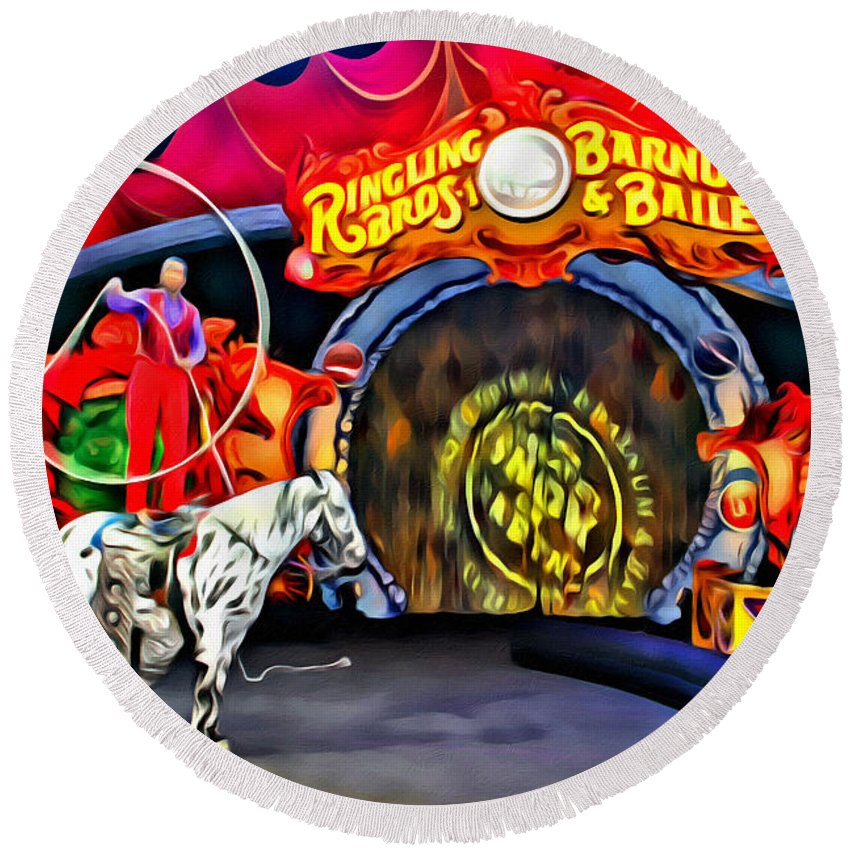 Horse Circus Act Ringling Bros Barnum Bailey Round Beach Towel featuring the photograph Circus Act by Alice Gipson