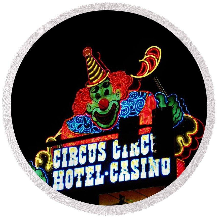 Las Vegas Round Beach Towel featuring the photograph Circus Circus Sign Vegas by John Malone