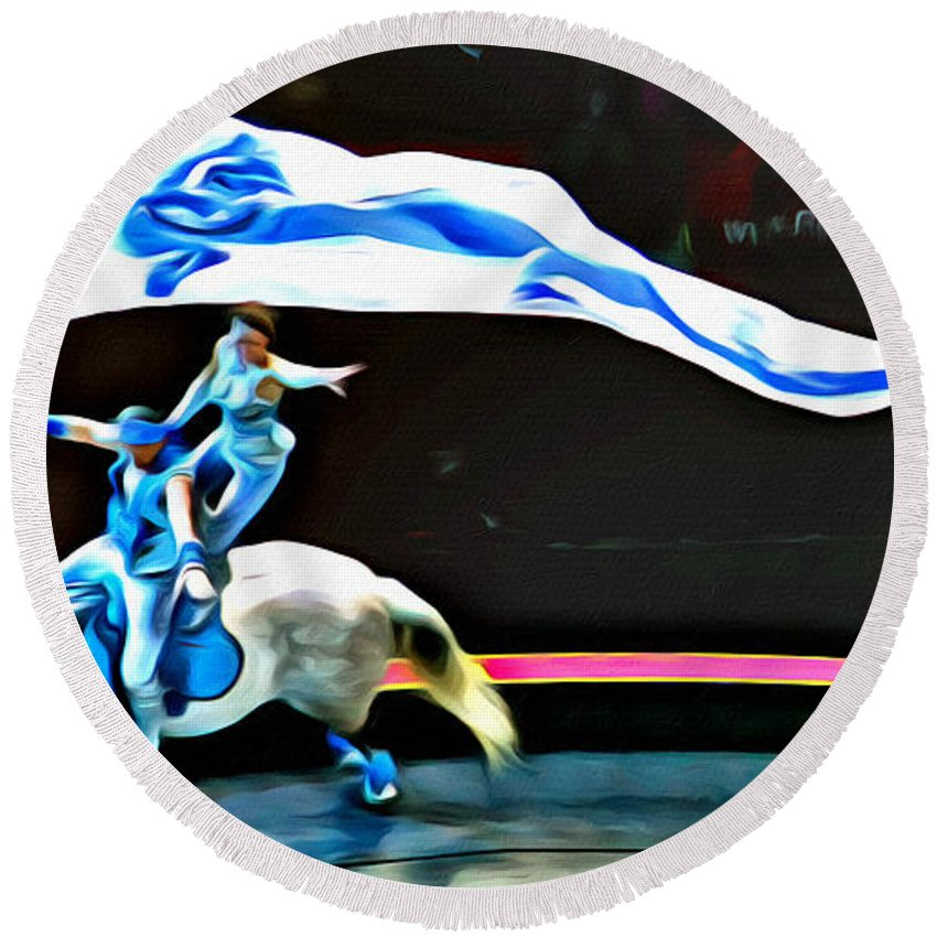 Circus Horse Tricks Riders Banner Round Beach Towel featuring the photograph Circus Horseback Act by Alice Gipson