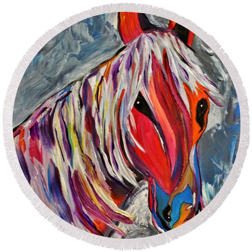 Horse Round Beach Towel featuring the painting Cisco Abstract Horse by Janice Pariza