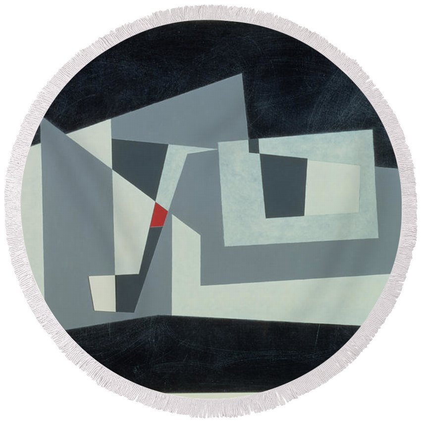Abstract Round Beach Towel featuring the photograph Citadel, Version 3, 1982 Oil On Hardboard by George Dannatt