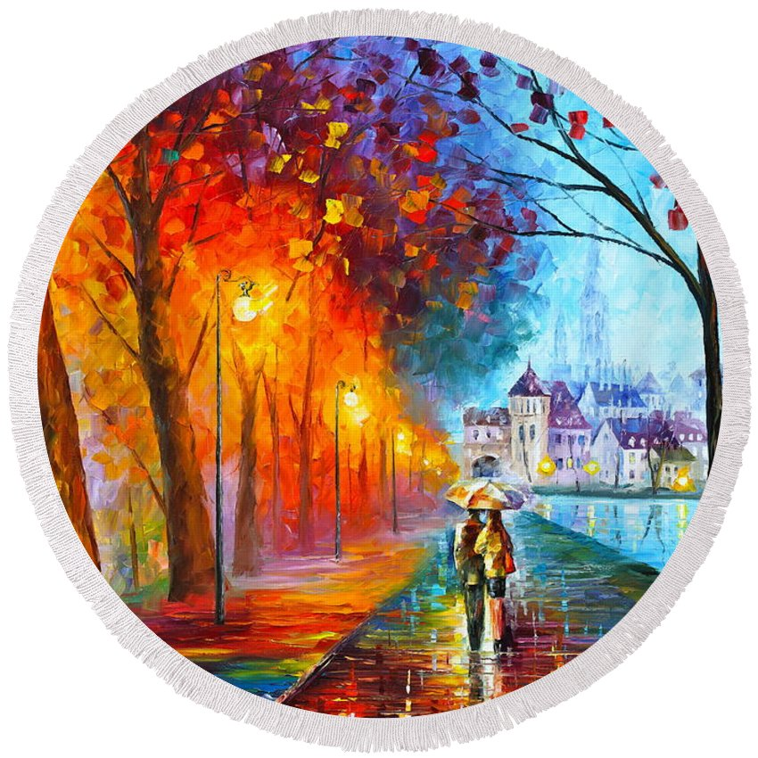 Afremov Round Beach Towel featuring the painting City By The Lake by Leonid Afremov