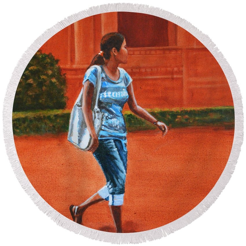City Round Beach Towel featuring the painting City Girl by Usha Shantharam