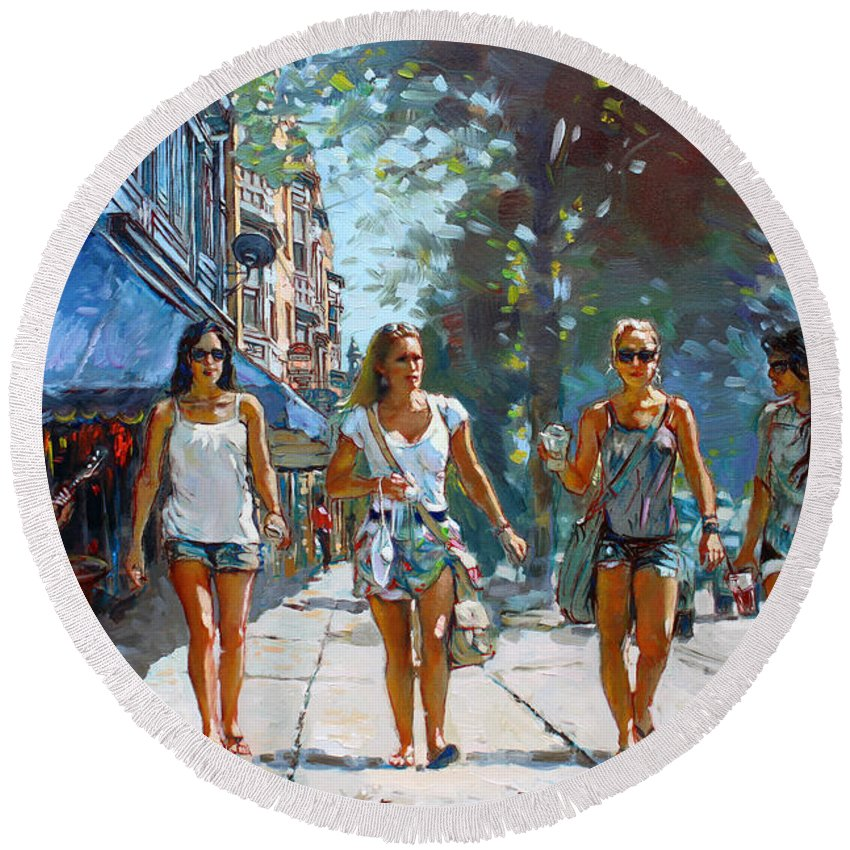 Landscape Round Beach Towel featuring the painting City Girls by Ylli Haruni